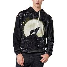 Streetwear Men Sweatshirts Starry Sky and Wolf 3D Printed Plain Hoodies Men Long Sleeves Kangaroo Pocket Hooded Hoodies Mens цена 2017