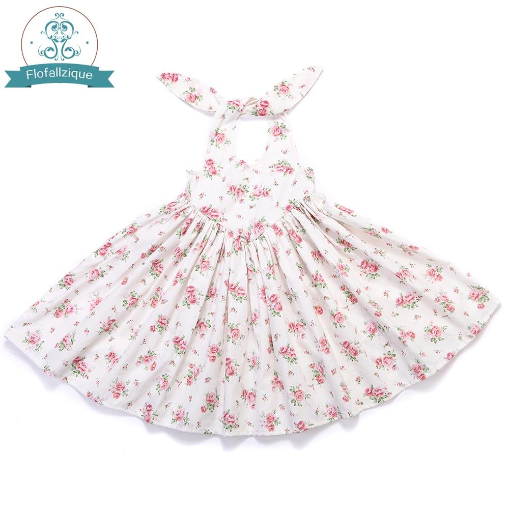 Baby Girl Clothes 2018 Brand Girls Summer Dresses Vintage Floral Print Backless Tie Design for Kids Girls Princess Party dress vintage floral print mini shift dress