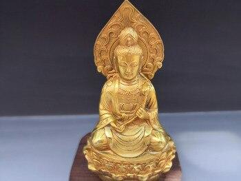 Tibetan Guanyin gold-plated bronze statue.