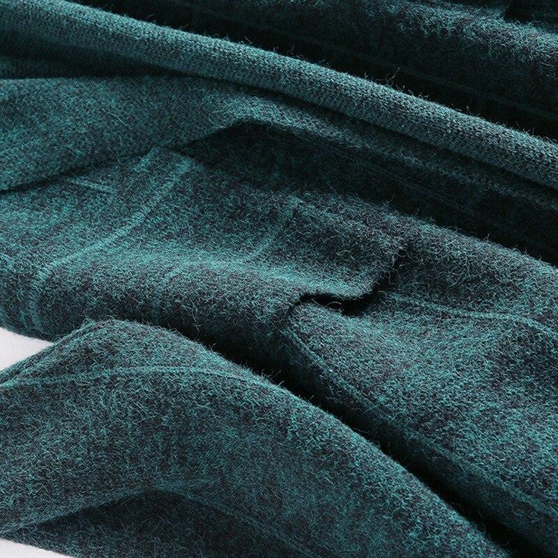 Cachemire Surdimensionnés Mode Chaud Veste Cardigan vert Lâche marron 2018 Bleu Chandails Long Occasionnel Femmes Plaid Chic Automne Laine Manteaux Tricoté Hiver wpttxzg