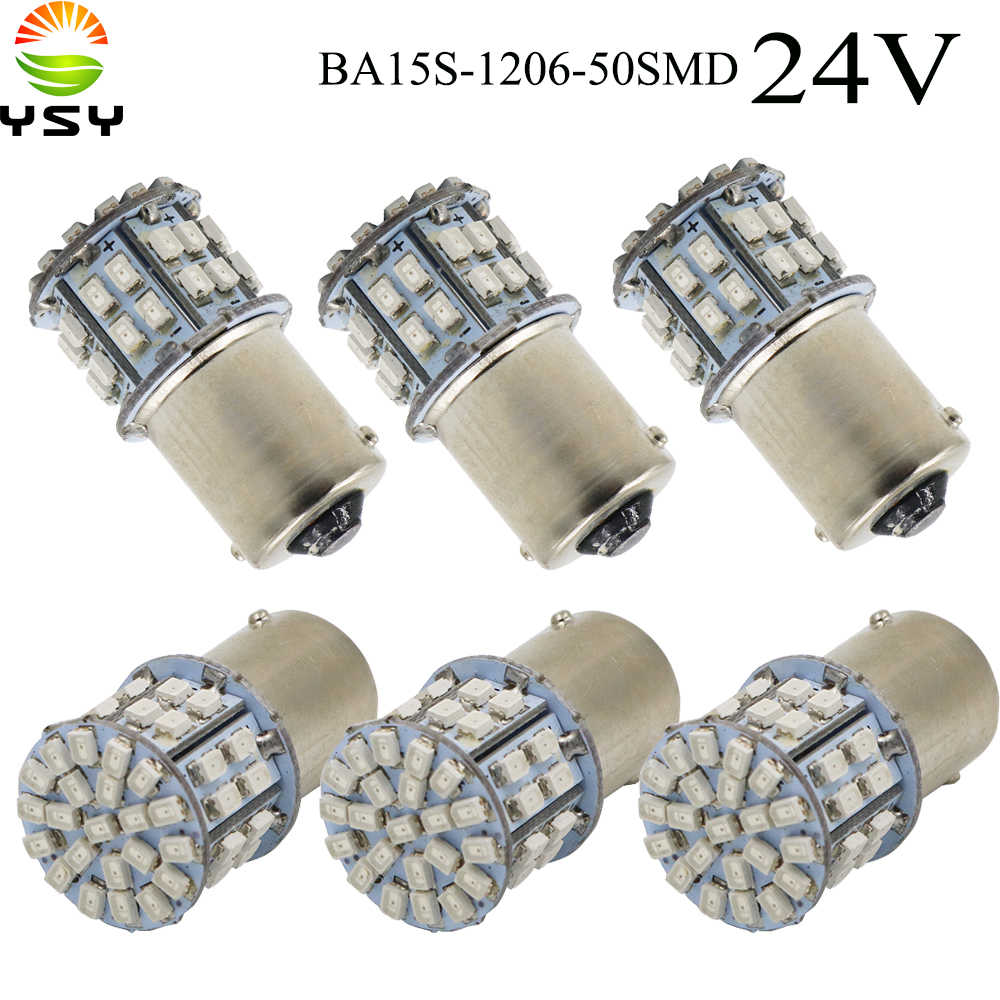 YSY 100X BA15S 1156 P21W 50SMD 1206 3030 50 Led SMD Car Brake Light Turn Signals Rear Parking Reverse Lamps Red White Amber 24V