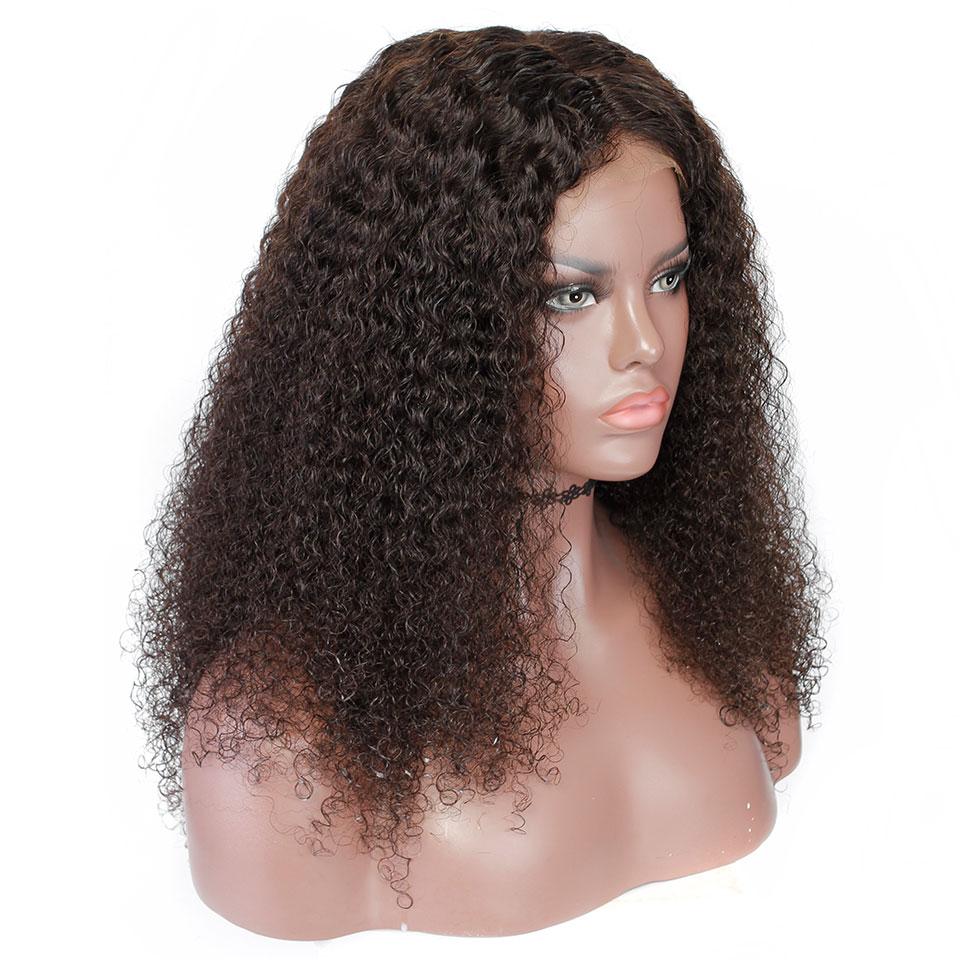 YVONNE Malaysian Curly Virgin Human Hair Lace Front Paryk För Svart - Mänskligt hår (svart) - Foto 2