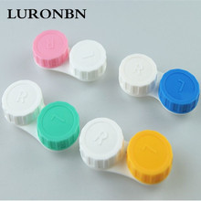 contact lens case Medical plastic cute contact lens case for women Color double US-pupil storage box glasses box20 pieces / lot(China (Mainland))