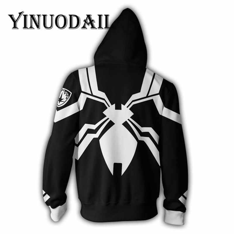 Ventole Vestirsi di Nero Marvel Venom 3D Felpe per Le Donne e Gli Uomini A Maniche Lunghe Gioco Spiderman Cosplay Vestiti 2018 Sweat Homme