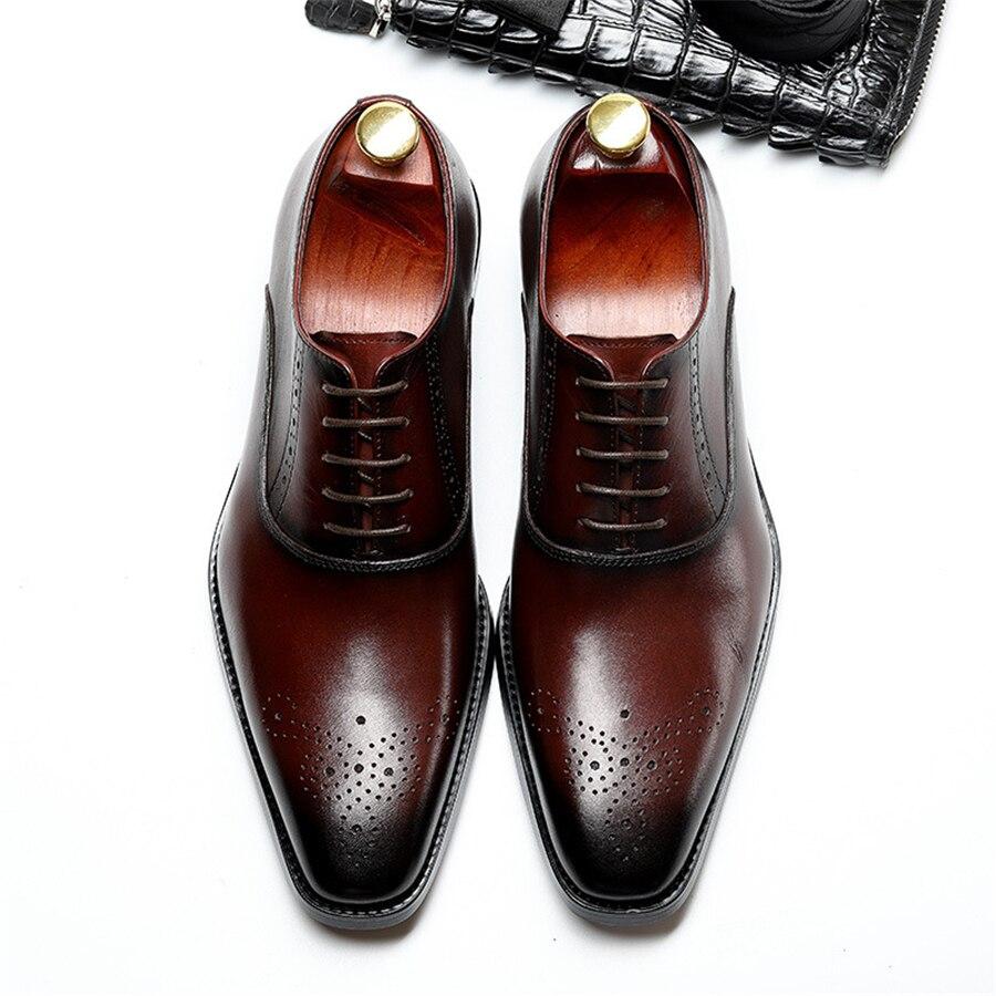 Hommes véritable cuir de vache brogue mariage affaires hommes décontracté chaussures plates 2019 noir bourgogne vintage oxford chaussures pour hommes chaussure