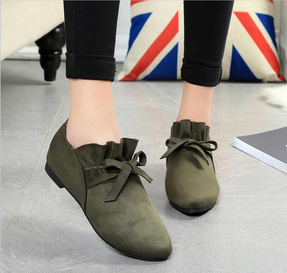 New spring flat with pointed casual flat shoes chaussure platform butterfly suede comfortable shallow mouth shoes size 35-39 2017 the new european american fashion horn bow pointed mouth shallow comfortable flat sheet metal red shoes tide size 35 41