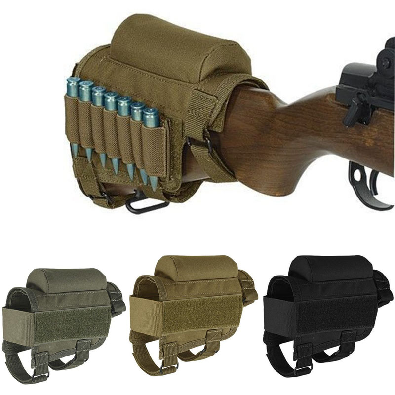 Tactical Hunting Rifle Cheek Rest Buttstock Gun Bullet Stock Ammo Shell Magazine Molle Pouch Cartridge Holder Bag