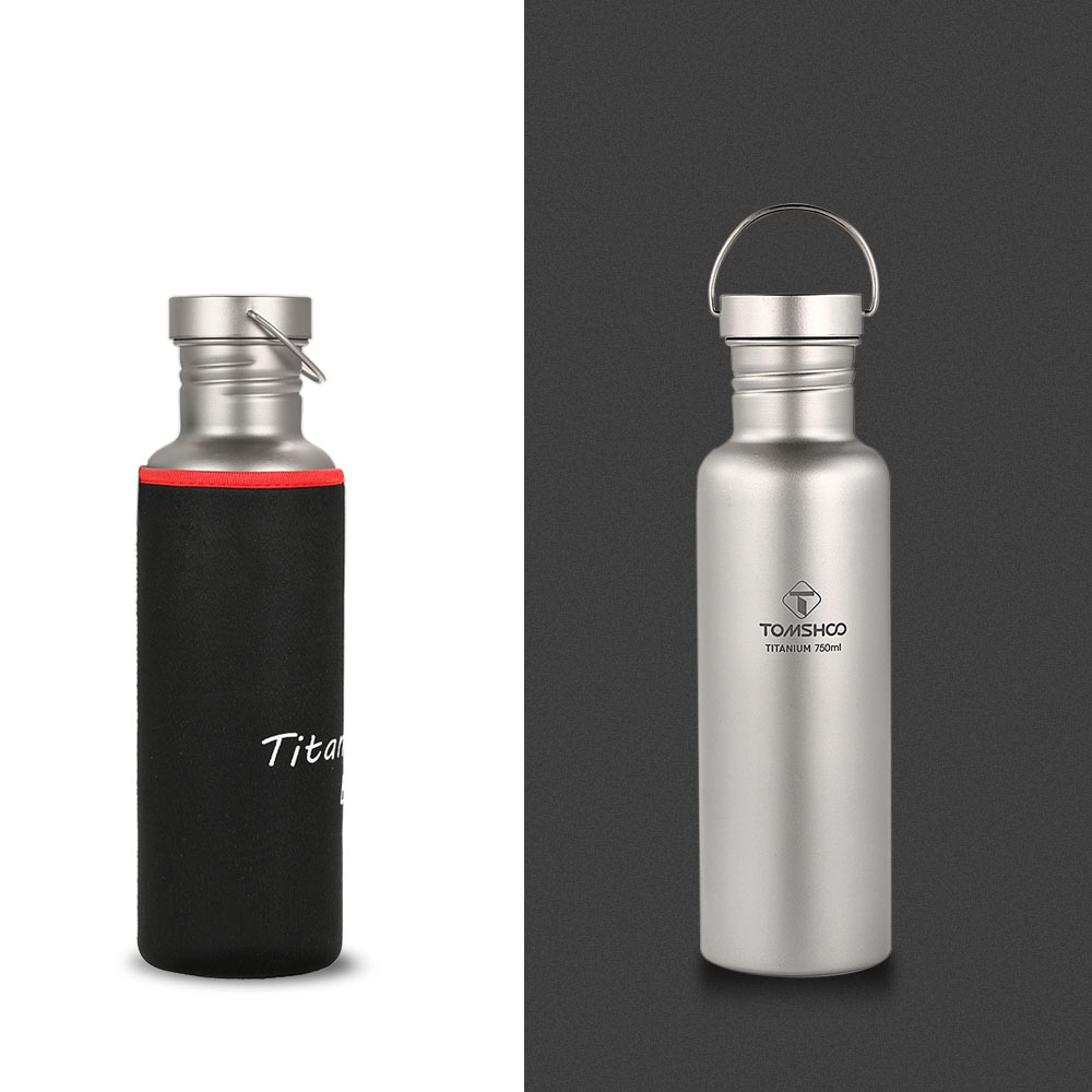 TOMSHOO Ultralight 550ml 750ml Titanium Water Bottle with Plastic Lid for Outdoor Camping Hiking Cycling Titanium