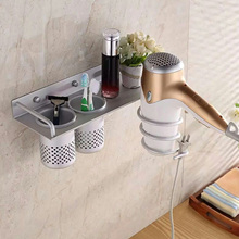 NC Space Aluminum Bathroom Wall Mounted Hair Drier Blower Storage Holder Toiletries Toothbrush Combs Toothpaste Rack Organizer