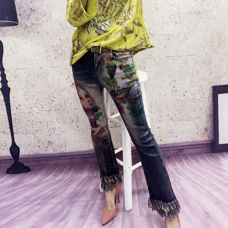 Pierna Jeans Mujeres Belleza De Alta Ancha Altavoz Micro Primavera Verano Imprimir Delgada Borla Stretch Cintura 6q5nxw8xP