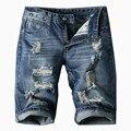 Новый 2017 Высокое качество Летние Мужчины Короткие Джинсы Мужские Тощий Жан мода Повседневная Дизайнерский Бренд Тонкий Джинсовые Синие Брюки Размер 38 40 42