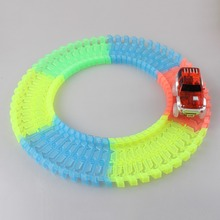 60 165 200 220pcs Fluorescent Flexible Tracks With Flashing LED Light up Race Car Roller Luminous