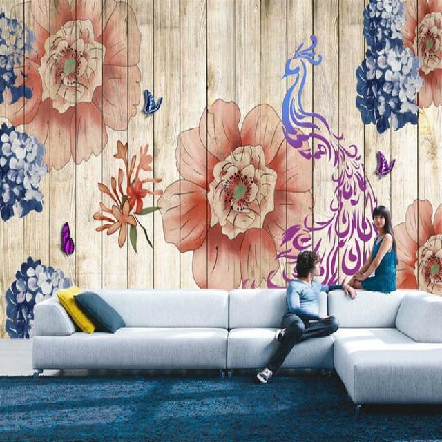 Wohnzimmer bilder fr hintergrund  Retro nostalgie Holz hintergrund Europäischen stil Blumen vögel ...