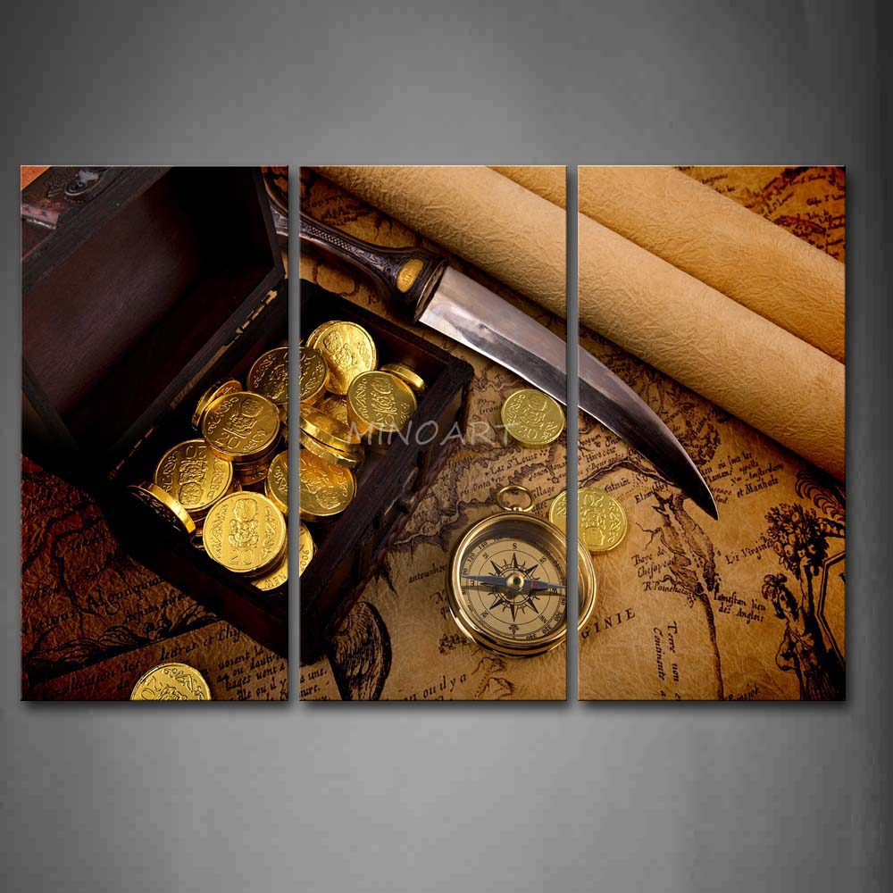 3 Piece Brown Wall Art Painting Map Campass Sharp font b Knife b font And Gold