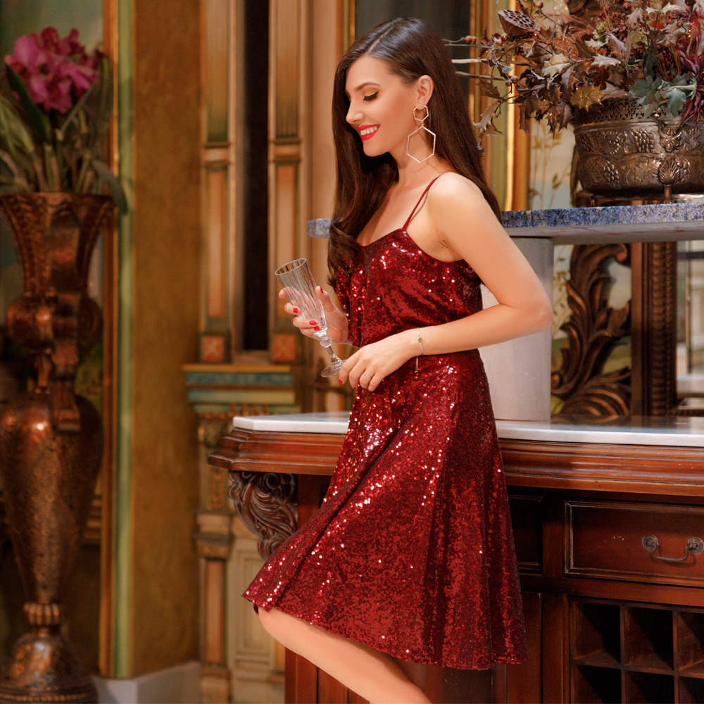 New Style Sparkly Homecoming Dresses Ever-Pretty Burgundy Spaghetti Straps Knee Length Party Gown Short Sequins Graduation Dress