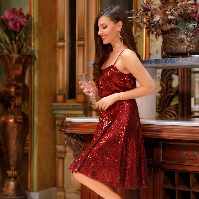 New Style Sparkly Homecoming Dresses Ever-Pretty Burgundy Spaghetti Straps  Knee Length Party Gown Short Sequins Graduation Dress ee5e9032a