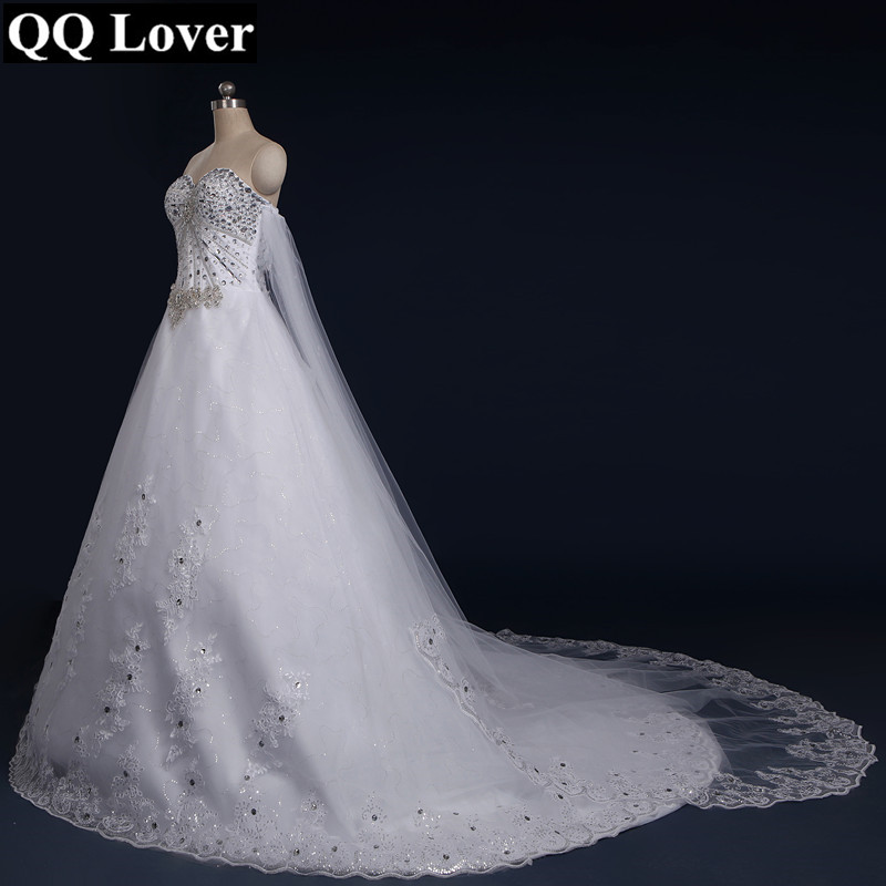QQ Lover 2018 New Tube Top Crystal Luxury Wedding Dress Bridal ...