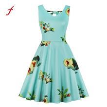 vestidos verano 2018 Women Dress Vintage Avocado Print Sleeveless Sling Casual Dance V Neck Dress Large Size S-4XL