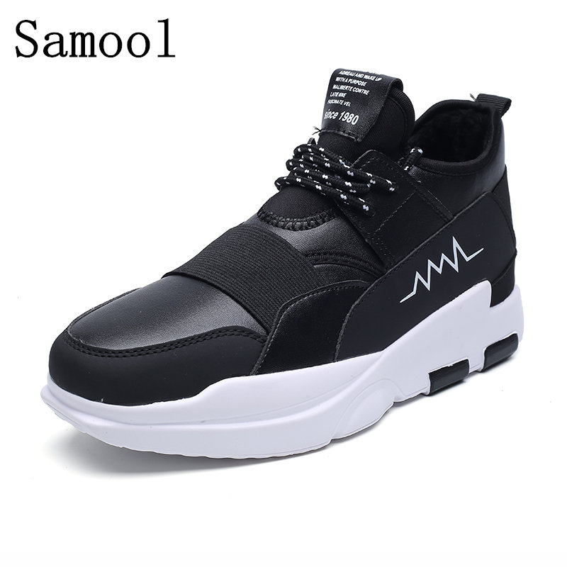 2017 Fashion Men Shoes Lace Up Soild Color Casual Leather Flat Wite Breathable Warm With Fur Winter Shoes Zapatos Hombre WX5 casual color block lace up breathable sports shoes for men