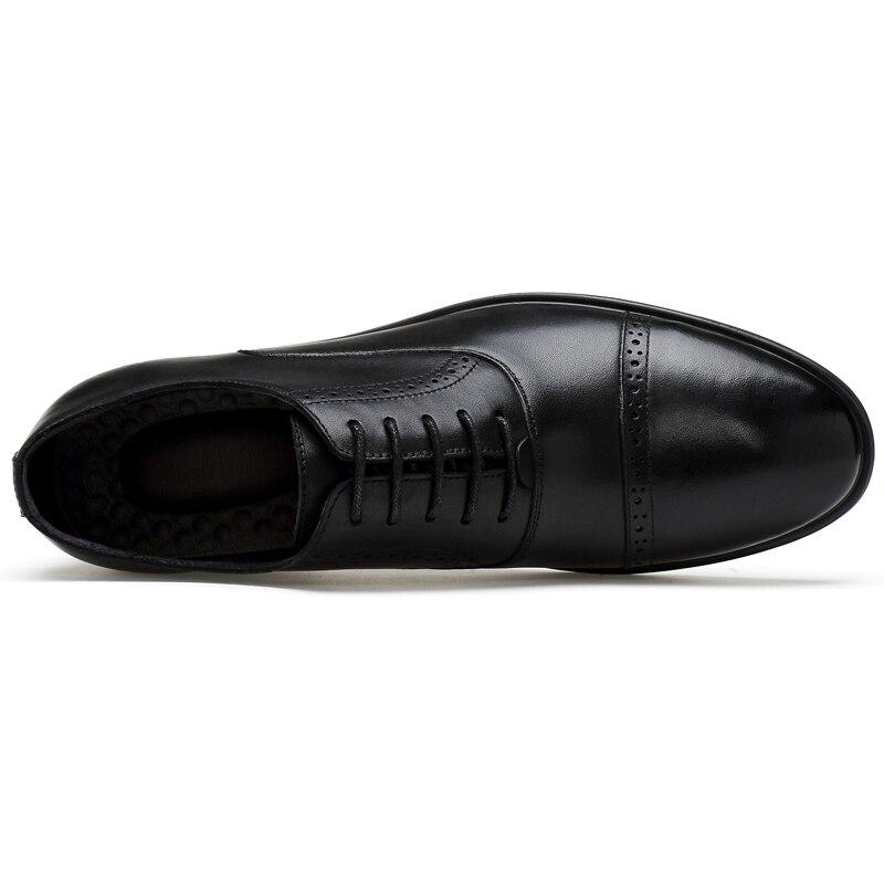 De 37 45 Robe En Hommes Qualité ~ Chaussures Taille Mariage Black Bout brown Bullock Richelieus Haute Véritable Cuir Pointu Appartements D'affaires gdwO4Eq