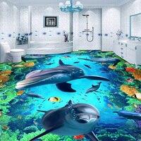 Custom 3D Flooring Photo Wallpaper Underwater World Dolphin Vinyl Floor Mural De Parede PVC Waterproof Floor