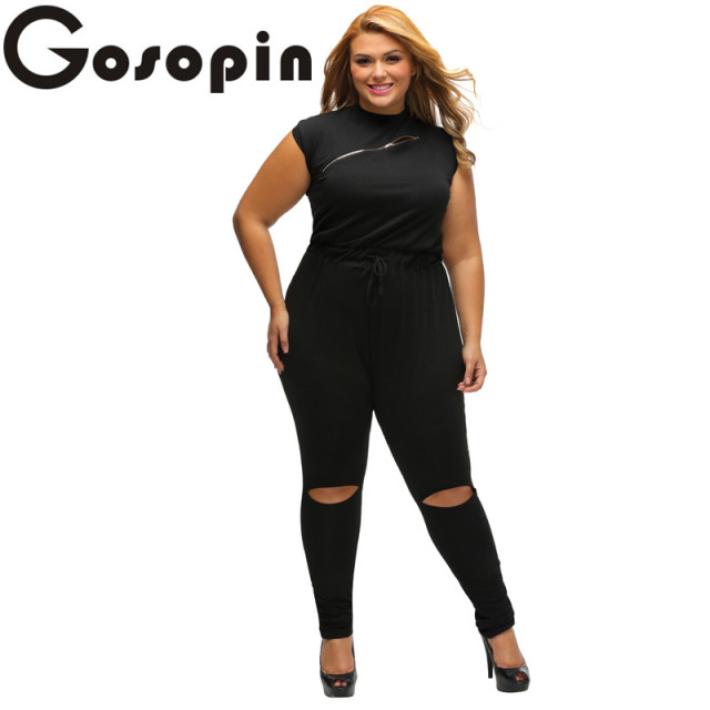 c8c0ffcbc7d3 Gosopin Jumpsuits Long Womens Slim Plus Size Creative Zip Line Sleeveless Black  Stretchy Playsuits for Ladies Overalls LC64055