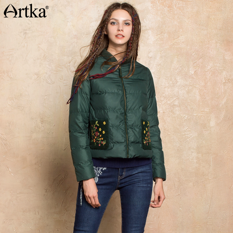 ARTKA Women's   Down   Jacket 2018 Winter Bomber Jacket Women 90% Duck   Down     Coat   Ultra Light Puffer Jacket Embroidery Parka DK10072Q