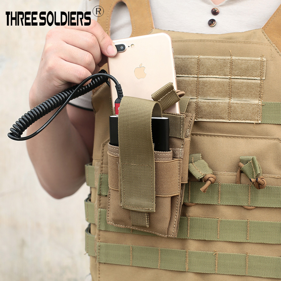 Three Soldiers Tactical Molle Mobile Phone Pouch Charging Treasure Bag Phone For Belt Vest Backpack Hunting Storage Outdoor Bags