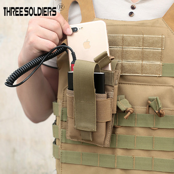 Three soldiers Tactical Molle Mobile Phone Pouch Charging Treasure Bag for Belt Vest backpack Hunting Storage Outdoor Bags