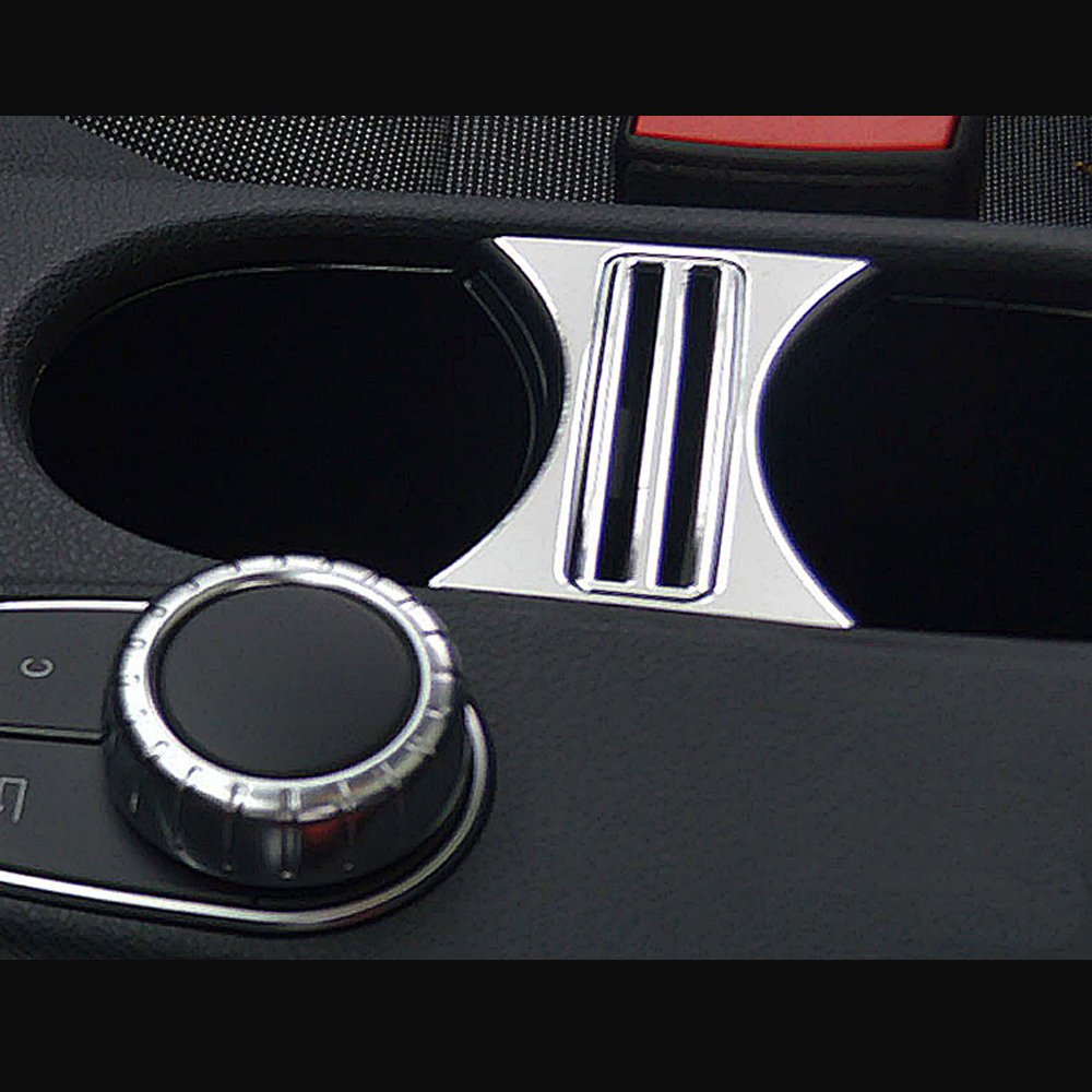 Car styling center console cup holder trim sequin chrome interior frame for mercedes benz a