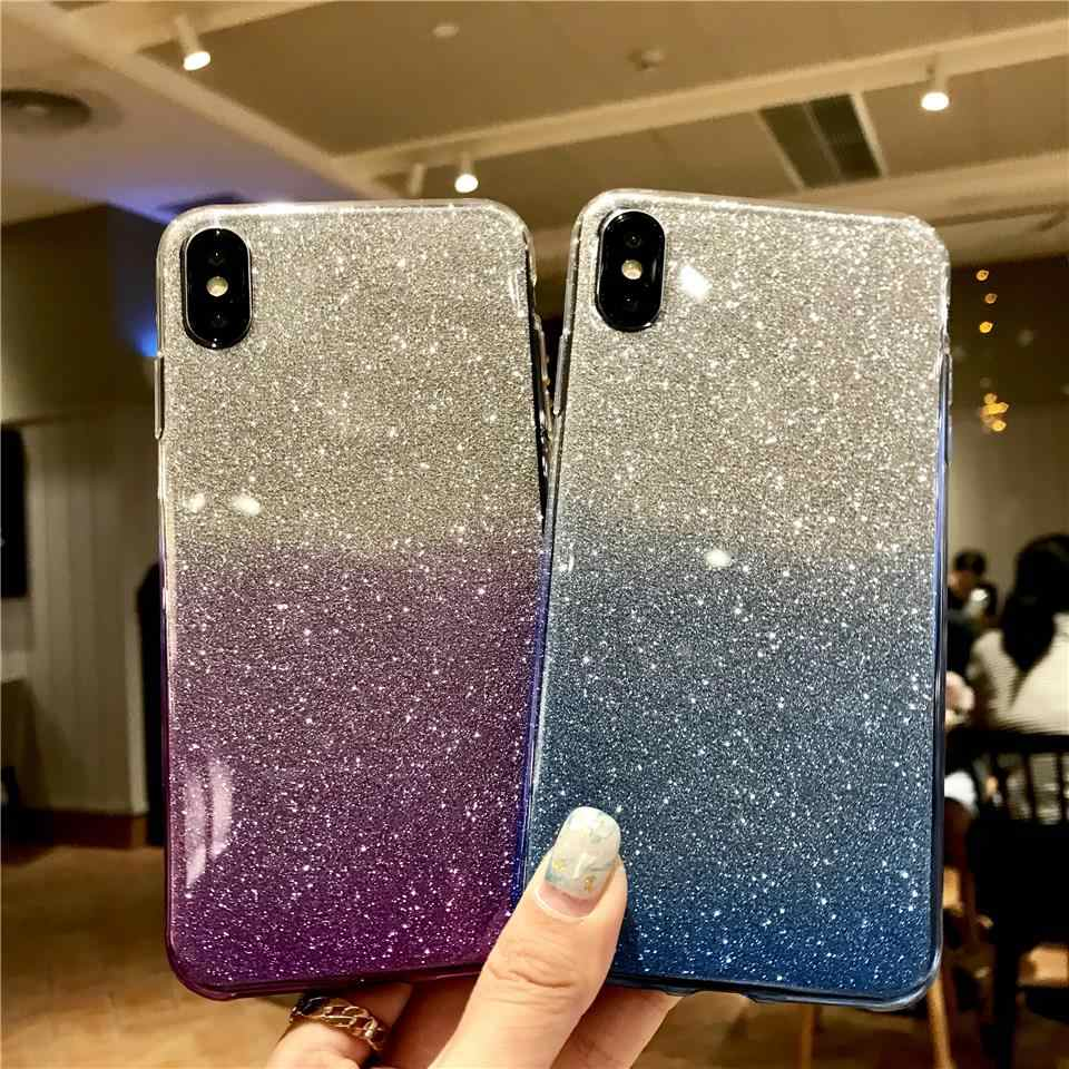 Rainbow Glitter TPU Case For iphone XS MAX XR Sony XZ Z5 C5 C6 Xperia X XA XA1 XA2 XP Ultra XR XC XZ1 XZ2 Silicone 2 in 1 Cover