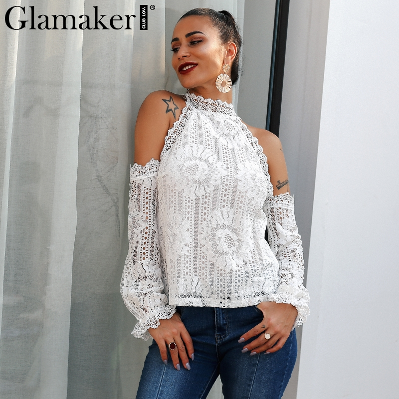 Glamaker Black off shoulder lace sexy   blouse     shirt   Women elastic sleeve spring   blouse   top Female summer party club casual   blouse