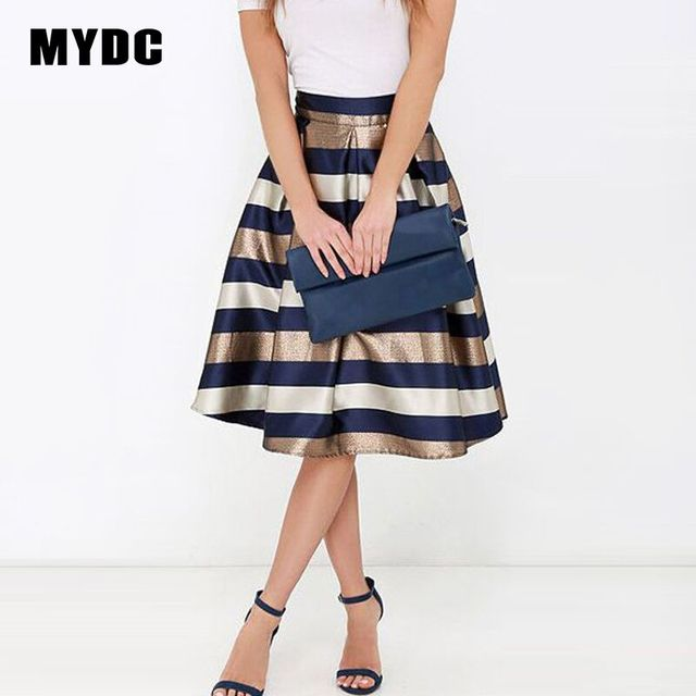 MYDC Sexy Women Stretch Natural Waist Pleated skirt Striped Printed Knee-Length Skirt