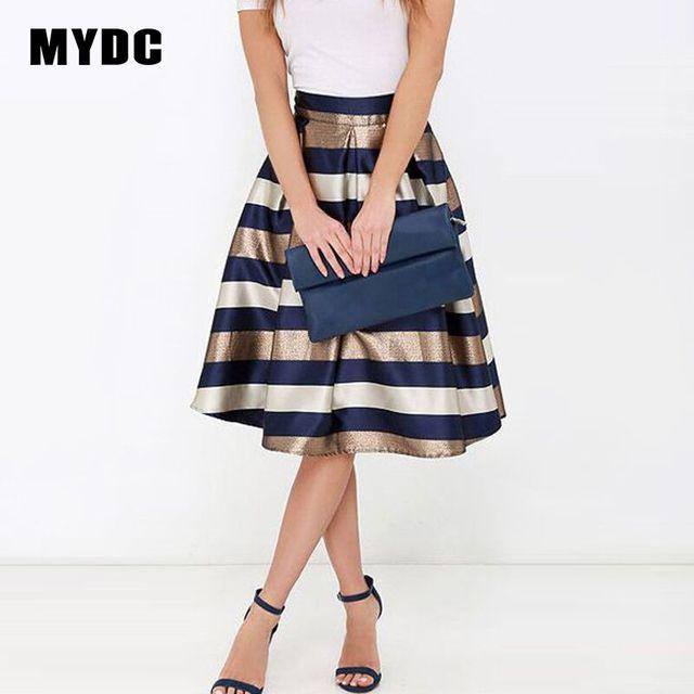 Mydc пикантные Для женщин стрейч талии плиссированная юбка с принтом в полоску Повседневное до колена Длина юбка 2018 элегантный юбка Большие размеры