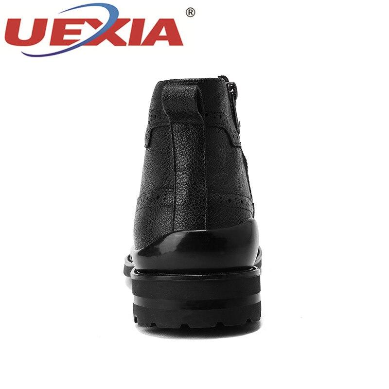 Nouvelle Pour D'hiver Qualité Bottes Coton Main Haute Hommes Black Neige En Chaussures Fourrure De Robe D'affaires Cuir Uexia Cheville fPdx6qf