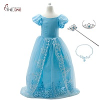 MUABABY Princess Dresses Little Girls Cinderella Cosplay Costume Children Halloween Birthday Party Train Fantasy Tutu Dresses