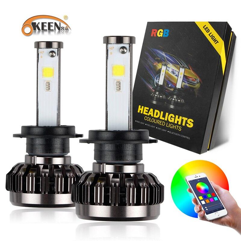 OKEEN 2 pcs H4 H7 RGB Lampe De Phare Kit Ampoule H8 H11 H13 9005 9006 LED Lumière Projecteur Bluetooth Téléphone son Contrôle de La Lumière Canbus