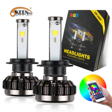 OKEEN 2pcs H4 H7 RGB Headlight Lamp Kit Bulb H8 H11 H13 9005 9006 LED Light Headlamp Bluetooth Phone Sound Light Control Canbus(China)