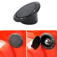 Black Powder Coated Steel Gas Fuel Tank Cap Cover For Jeep Wrangler JK JKU Unlimited Rubicon