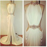 Unique White Sheath High Collar Evening Dress Pick up Pleat Sleeveless Rhinestone Chiffon Prom Gowns