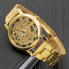 Mens Watches for Men Skeleton Dial Stainless Steel Band Special Hollow Watch Transparent Quartz Movement Gold Silver Relogio