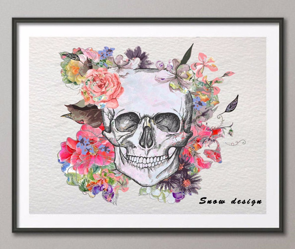 Us 7 79 40 Off Original Watercolor Mexican Sugar Skull Canvas Painting Wall Art Poster Print Pictures Home Decoration Wall Hanging Sticker Gift In