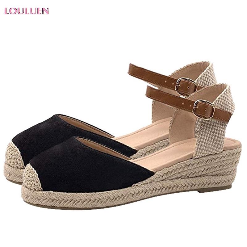 LOULUEN Sandals Shoes Buckle Ankle-Strap Summer Women 43 Wedges -0713 Weaving National