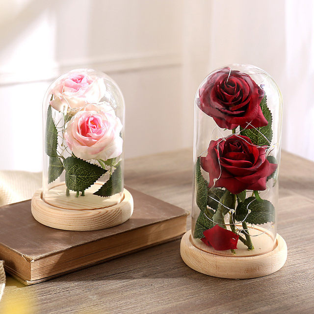 Beauty And The Beast Simulation LED Strip Night Light Bottle Little Prince  Table Lamp Red Rose Lamp For Valentineu0027s Day Kid Gift