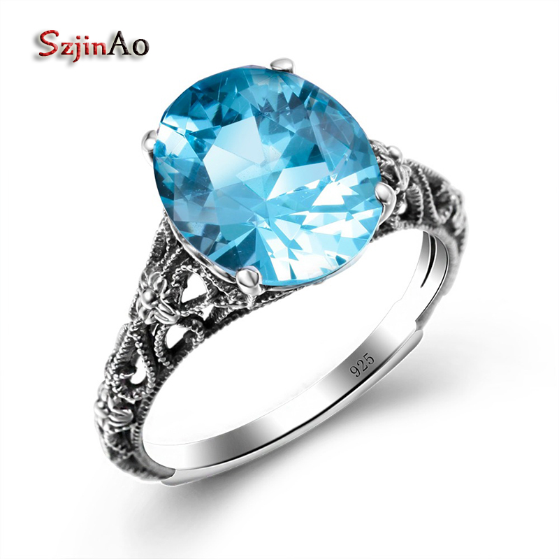 Szjinao 925 Sterling Silver Ring anillos mujer Retro Style Inlay London Moonlight Blue Aquamarine thai Silver Womens RingsSzjinao 925 Sterling Silver Ring anillos mujer Retro Style Inlay London Moonlight Blue Aquamarine thai Silver Womens Rings