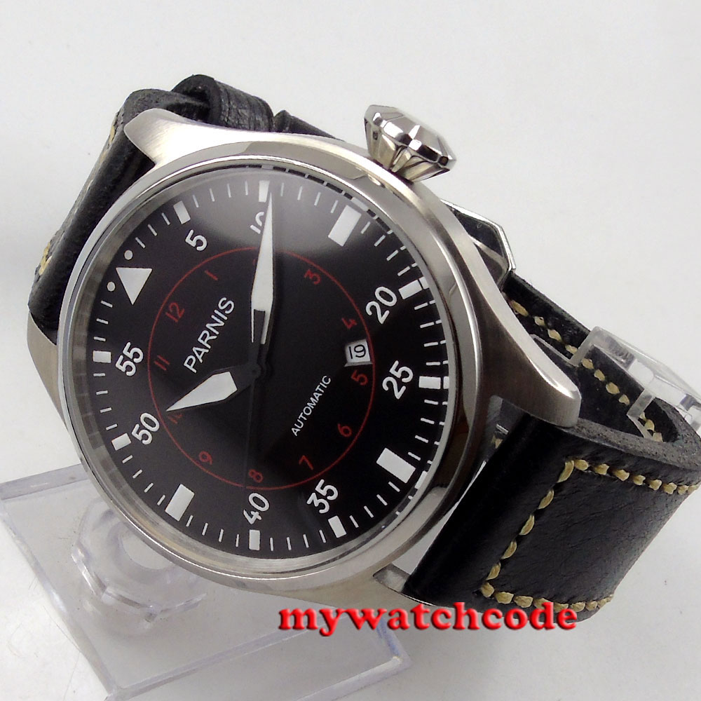 47mm parnis black dial date 21 jewels miyota 8215 automatic mens watch P57547mm parnis black dial date 21 jewels miyota 8215 automatic mens watch P575