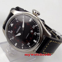 47mm Parnis Black Dial Date 21 Jewels Miyota 8215 Automatic Mens Watch P575