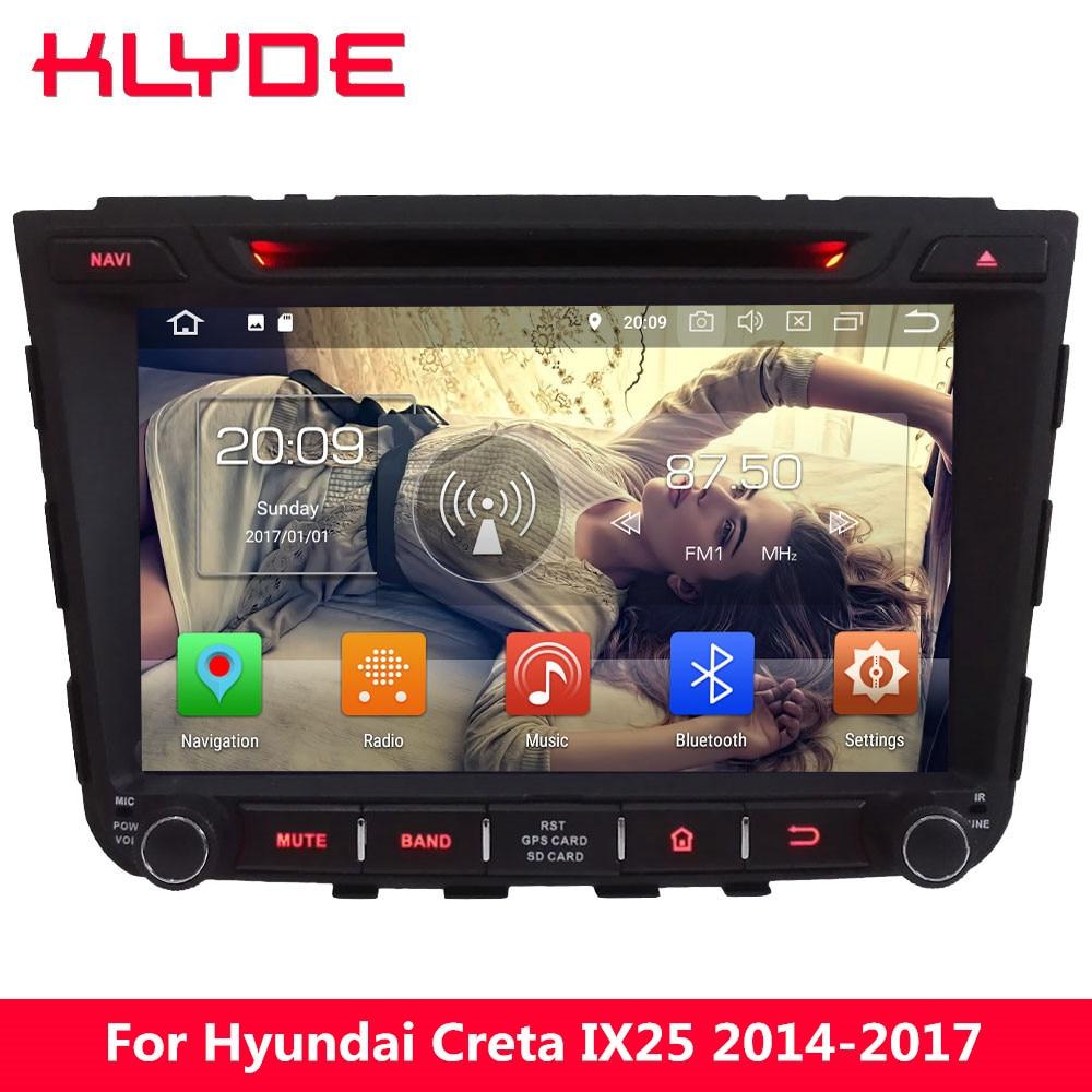 KLYDE 4G WIFI Octa Core Android 8.0 7.1 4GB RAM 32GB ROM Car DVD Player Radio GPS Navigation For Hyundai IX25 Creta 2014-2017 цена 2017
