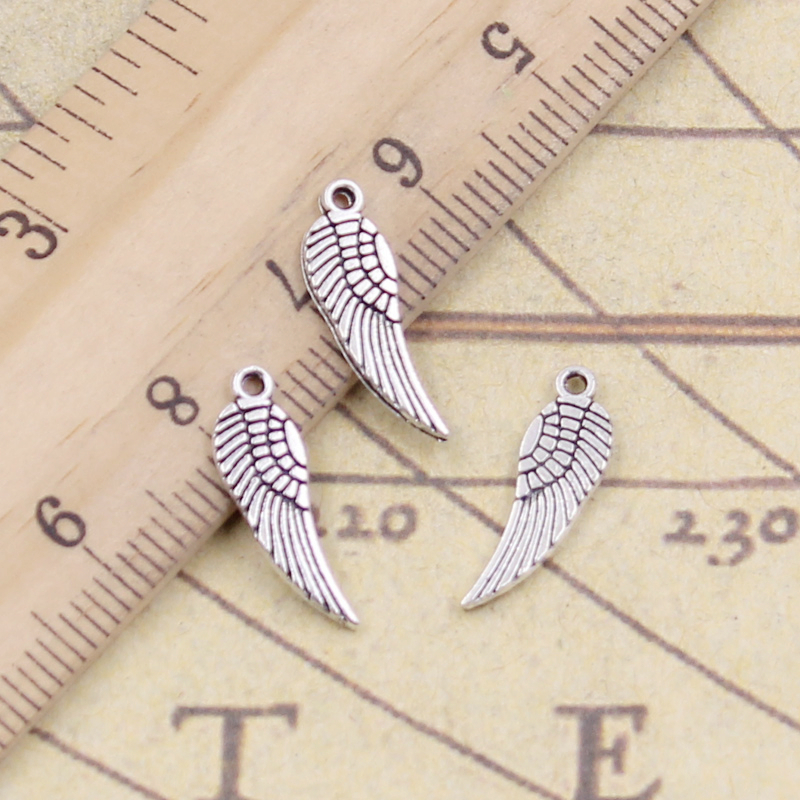 30pcs Charms Angel Wings 19x5mm Tibetan Bronze Silver Color Pendants Antique Jewelry Making DIY Handmade Craft