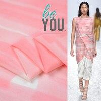 100cm*140cm Pink Silk Dress Fabric Fresh Silk Crepe De Chine